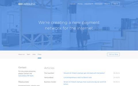 Screenshot of Press Page gocardless.com - Press - GoCardless - captured July 6, 2016