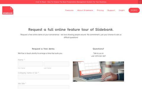 Screenshot of Signup Page slidebank.com - Demo — PowerPoint Presentation Management Software - Slidebank - captured Dec. 5, 2018