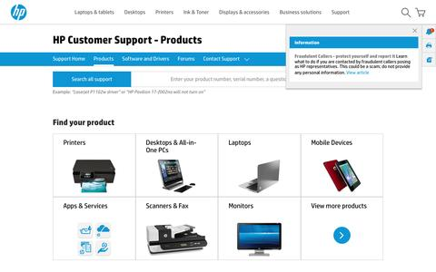 Screenshot of Products Page hp.com - HP Customer Support for Printers, Laptops, PCs, Desktops, Tablets and More | HP® Customer Support - captured April 8, 2017