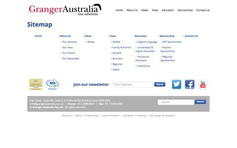 Screenshot of Site Map Page grangeraustralia.com.au - Sitemap - captured Sept. 30, 2014