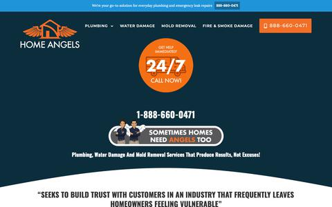Screenshot of Home Page homeangelsfl.com - Plumbing, Water Damage, Mold Removal | HOME ANGELS® - captured Sept. 29, 2018