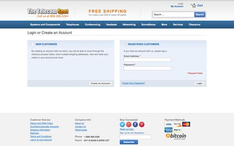 Screenshot of Login Page thetelecomspot.com - Customer Login - captured Sept. 22, 2014