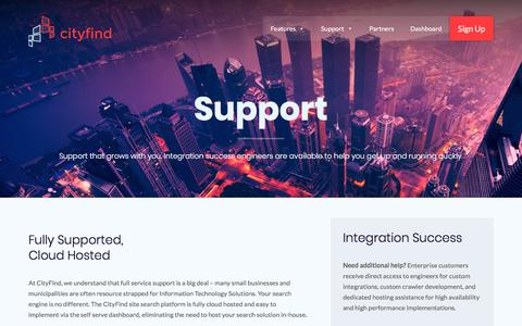 Screenshot of Support Page cityfind.site - Support - CityFind | Site Search for Everyone - captured July 10, 2018