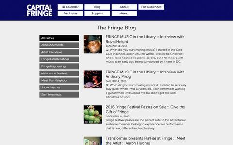 Screenshot of Blog capitalfringe.org - The Fringe Blog · Capital Fringe - captured Jan. 16, 2016