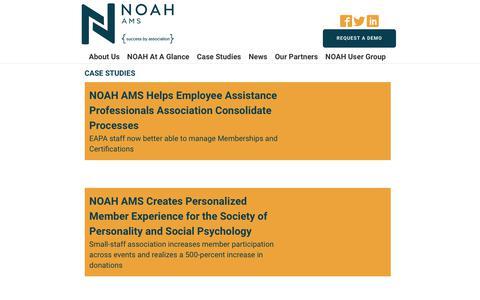 Screenshot of Case Studies Page noahams.com - Case Studies - captured Oct. 21, 2018