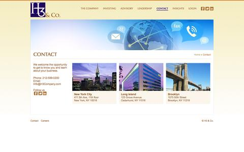 Screenshot of Contact Page h3company.com - Contact | H3 & Co. - captured Oct. 1, 2014