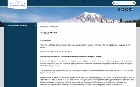 Screenshot of Privacy Page pscleanair.org - Privacy Policy | Puget Sound Clean Air Agency, WA - captured July 1, 2018