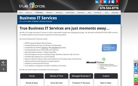 Screenshot of Pricing Page trueitpros.com - Business IT Services | trueITpros LLC - Atlanta IT Management - captured Oct. 6, 2014