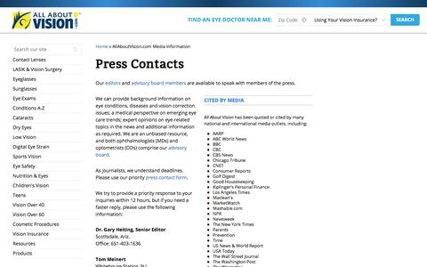 Screenshot of Press Page allaboutvision.com - Press Contacts - AllAboutVision.com - captured Sept. 21, 2018