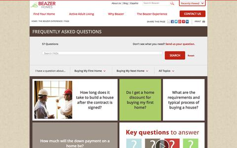 Screenshot of FAQ Page beazer.com - FAQs | Beazer Homes - captured July 2, 2017