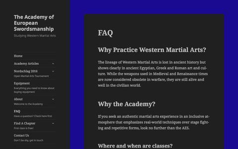 Screenshot of FAQ Page swordsmanship.ca - FAQ – The Academy of European Swordsmanship - captured Feb. 15, 2016
