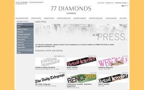 Screenshot of Press Page 77diamonds.com - Press Coverage And Releases - 77Diamonds - captured Sept. 22, 2014