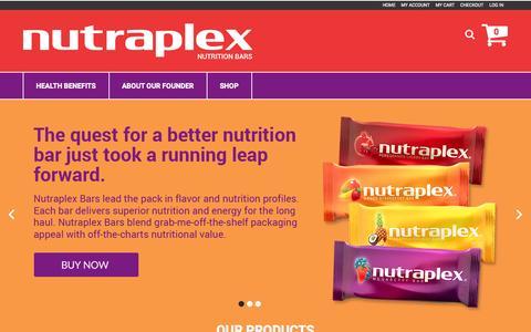 Screenshot of Home Page nutraplex.com - Nutraplex®   Gluten Free, Non-GMO, Kosher, Vegetarian, Energy Bar - captured Jan. 26, 2015