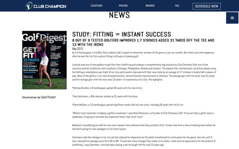 Screenshot of Press Page clubchampiongolf.com - News | Club Champion is the #1 premium golf club fitter - captured Aug. 3, 2017