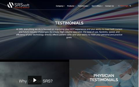 Screenshot of Testimonials Page srssoft.com - Testimonials - SRS Software - captured April 20, 2016