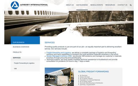 Screenshot of Services Page argosyinternational.com - Argosy International |Our range of aerospace services - captured Oct. 29, 2014