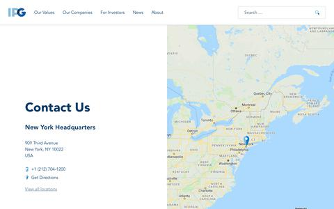 Screenshot of Contact Page interpublic.com - Contact Us | IPG - captured Sept. 18, 2019