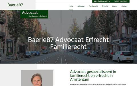 Screenshot of Home Page baerle87.nl - Baerle87 - Uw echtscheidingsadvocaat en advocaat erfrecht - captured Aug. 1, 2018