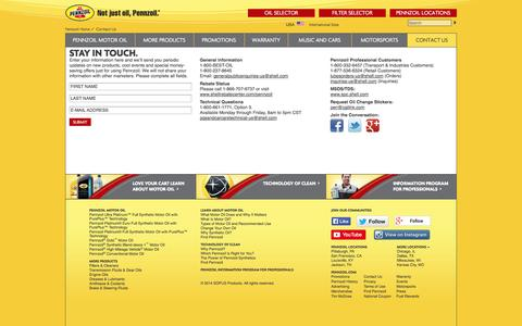 Screenshot of Contact Page pennzoil.com - Contact Us - Pennzoil - captured Sept. 19, 2014