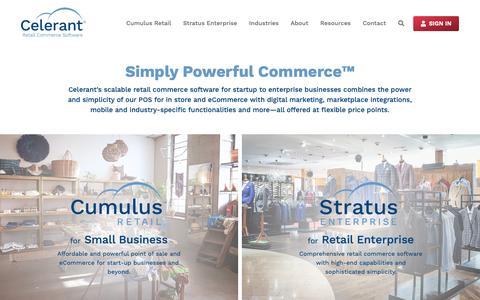 Screenshot of Home Page celerant.com - Celerant Technology – Retail Commerce Software - captured April 27, 2019