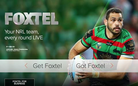 Screenshot of Home Page foxtel.com.au - Foxtel: Home of Drama, Live Sport and Better Entertainment - captured Feb. 10, 2016
