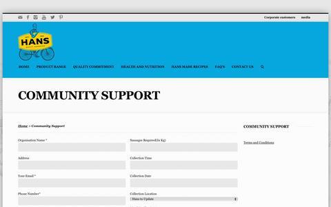 Screenshot of Terms Page hans.com.au - Community Support - captured Dec. 14, 2018