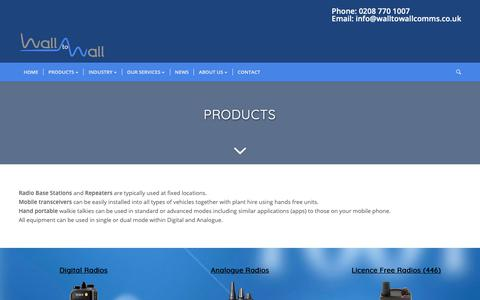 Screenshot of Products Page walltowallcomms.co.uk - Products - Wall to wall Comms - captured Dec. 20, 2018
