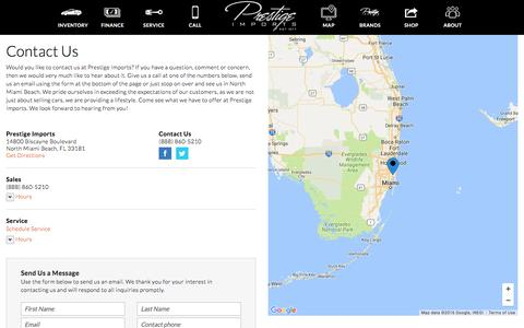 Screenshot of Contact Page Maps & Directions Page prestigeimports.com - Contact Prestige Imports in North Miami Beach Florida - captured Dec. 25, 2016