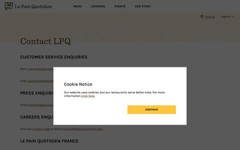 Screenshot of Contact Page lepainquotidien.com - Le Pain Quotidien - Contact - captured Nov. 19, 2018