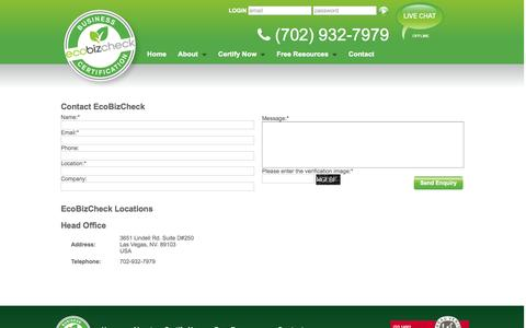 Screenshot of Contact Page ecobizcheck.com - EcoBizCheck | Contact EcoBizCheck - captured Sept. 30, 2014