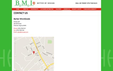 Screenshot of Contact Page bmicaps.com - Aluminum Electrolytic Capacitors, Run Start Capacitors, Film Capacitors - captured Feb. 7, 2016