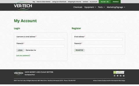 Screenshot of Login Page ver-techlabs.com - Truck Wash Chemicals | Car Wash Products | Ver-tech Labs - captured June 19, 2017