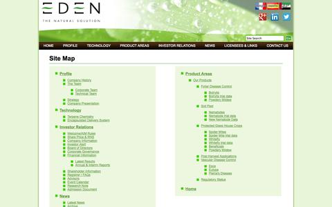 Screenshot of Site Map Page edenresearch.com - EDEN RESEARCH PLC - Site Map - captured Oct. 2, 2014