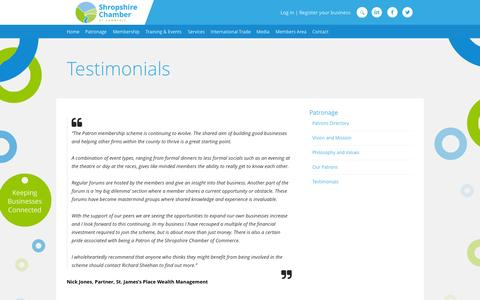 Screenshot of Testimonials Page shropshire-chamber.co.uk - Testimonials | Shropshire Chamber - captured Oct. 7, 2014