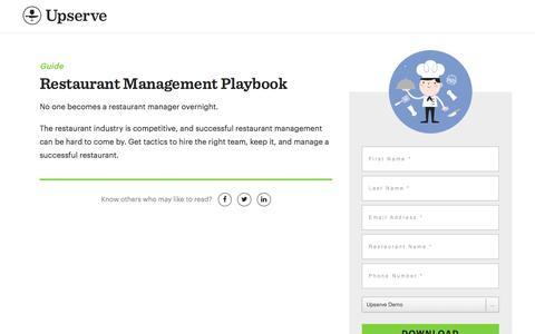 Screenshot of Landing Page upserve.com - Become A Restaurant Manager Playbook | Upserve - captured April 9, 2018