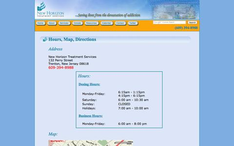 Screenshot of Contact Page Maps & Directions Page nhts.net - Hours, Map, Directions for New Horizon Treatment Services: Saving Lives from the Devastation of Addiction - captured Oct. 26, 2014