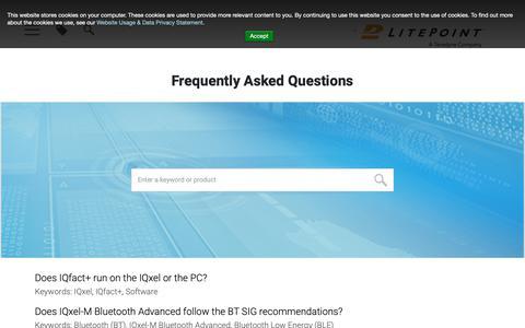 Screenshot of FAQ Page litepoint.com - FAQs | LitePoint - captured April 11, 2019