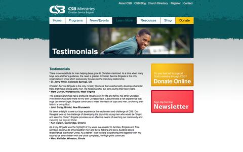 Screenshot of Testimonials Page csbministries.org - Testimonials : CSB Ministries - captured Sept. 26, 2014