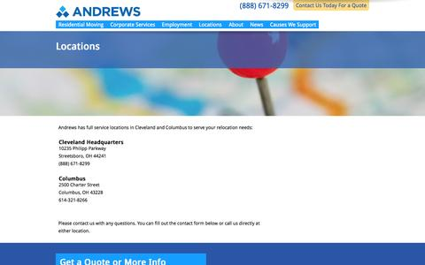 Screenshot of Locations Page andrewsmoving.com - Andrews Locations   Cleveland & Columbus Movers - captured Oct. 8, 2014