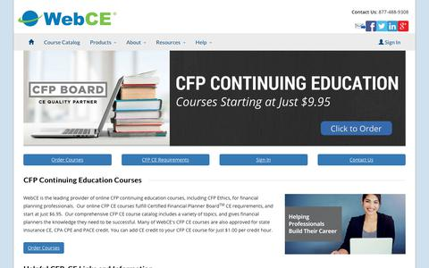 CFP Continuing Education | CFP Ethics CE | Requirements | WebCE