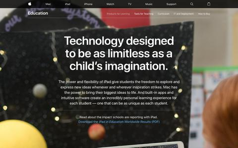 Screenshot of Products Page apple.com - Education - Products for Learning - Apple - captured July 5, 2018