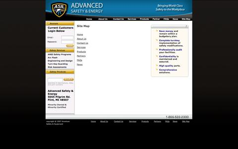 Screenshot of Site Map Page asesafety.com - Advanced Safety and Energy : Site Map - captured Oct. 4, 2014