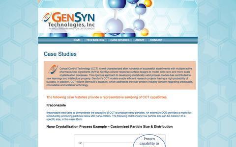 Screenshot of Case Studies Page gensyntech.com - Case Studies in Small Molecule Pharmaceuticals | GenSyn TechnologiesGenSyn Technologies - captured Oct. 2, 2014