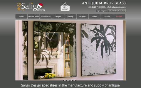 Screenshot of Home Page saligodesign.com - Antique Mirror Glass - Suppliers of Antiqued Mirror, Distressed Mirrors and Antique Mirror Glass. Offering a range of styles and designs to suit all applications. - captured Dec. 17, 2015