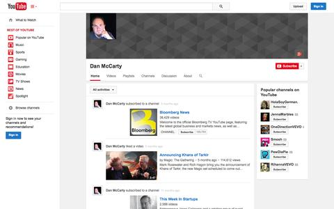 Screenshot of YouTube Page youtube.com - Dan McCarty  - YouTube - captured Oct. 22, 2014