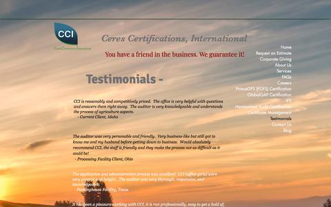 Screenshot of Testimonials Page ceresci.com - Home | Testimonials - captured Sept. 25, 2018