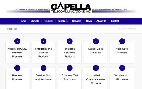 Screenshot of Products Page capella.ca - Products - Capella Telecommunications - captured Oct. 20, 2016