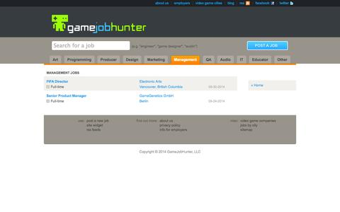 Screenshot of Team Page gamejobhunter.com - Management Video Game Jobs - captured Nov. 4, 2014