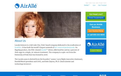 Screenshot of About Page airalle.com - About Us - Larada Sciences - captured July 19, 2014