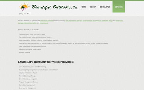 Screenshot of Services Page beautifuloutdoors.com - Beautiful Outdoors Inc - Landscape Company ServicesBeautiful Outdoors Inc - captured Feb. 7, 2016